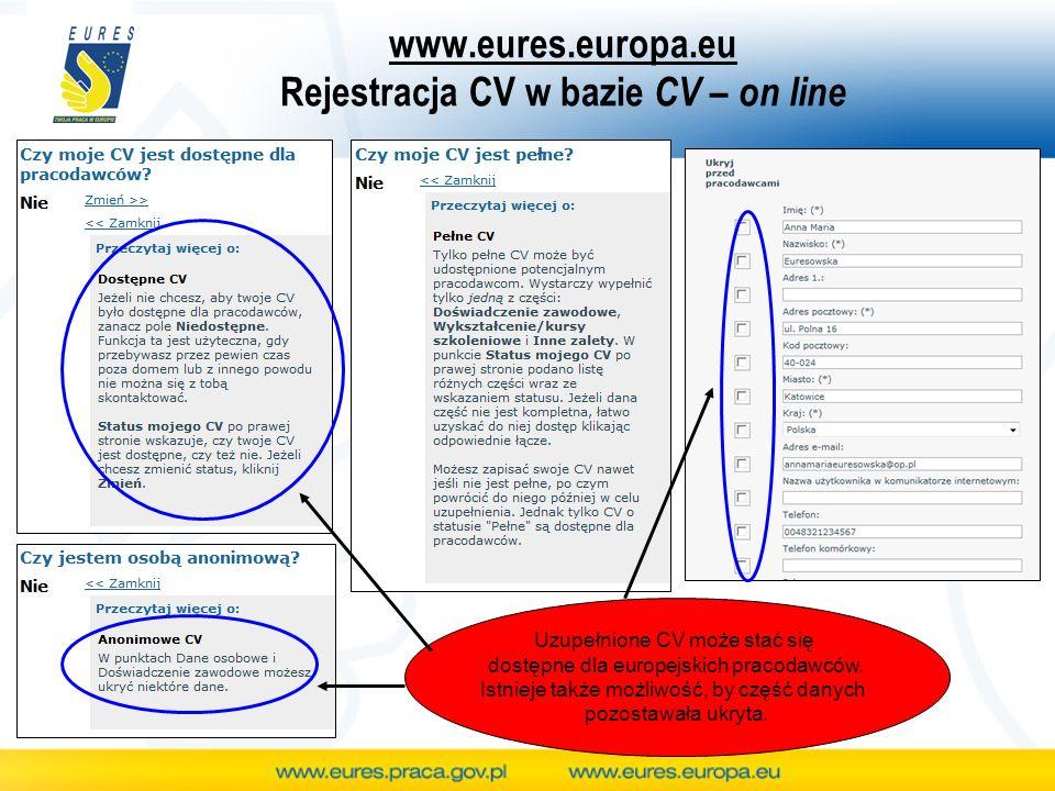 www.eures.europa.eu Rejestracja CV w bazie CV – on line Uzupełnione CV może stać się dostępne dla europejskich pracodawców. Istnieje także możliwość,