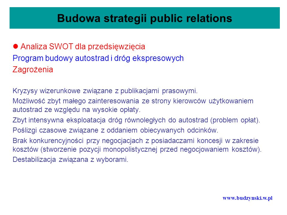 Budowa strategii public relations Analiza SWOT dla przedsięwzięcia Program budowy autostrad i dróg ekspresowych Zagrożenia Kryzysy wizerunkowe związan