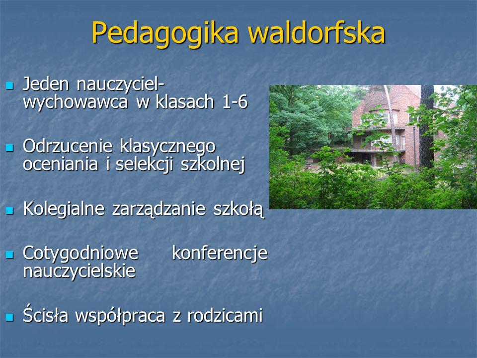 Pedagogika waldorfska Jeden nauczyciel- wychowawca w klasach 1-6 Jeden nauczyciel- wychowawca w klasach 1-6 Odrzucenie klasycznego oceniania i selekcj
