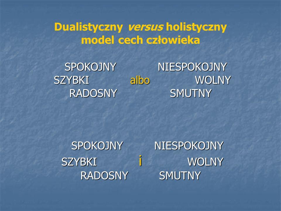 Dualistyczny versus holistyczny model cech człowieka SPOKOJNY NIESPOKOJNY SPOKOJNY NIESPOKOJNY SZYBKI albo WOLNY SZYBKI albo WOLNY RADOSNY SMUTNY SPOK
