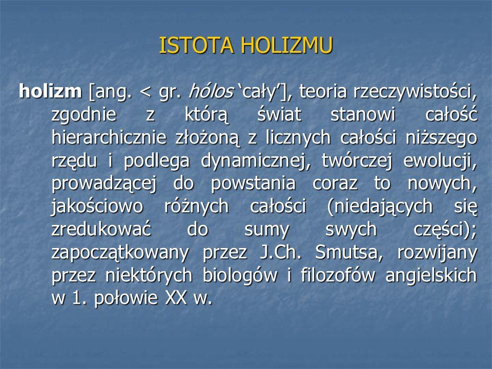 ISTOTA HOLIZMU holizm [ang. < gr. hólos cały], teoria rzeczywistości, zgodnie z którą świat stanowi całość hierarchicznie złożoną z licznych całości n