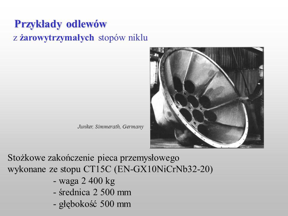 z żarowytrzymałych stopów niklu Przykłady odlewów Stożkowe zakończenie pieca przemysłowego wykonane ze stopu CT15C (EN-GX10NiCrNb32-20) - waga 2 400 k