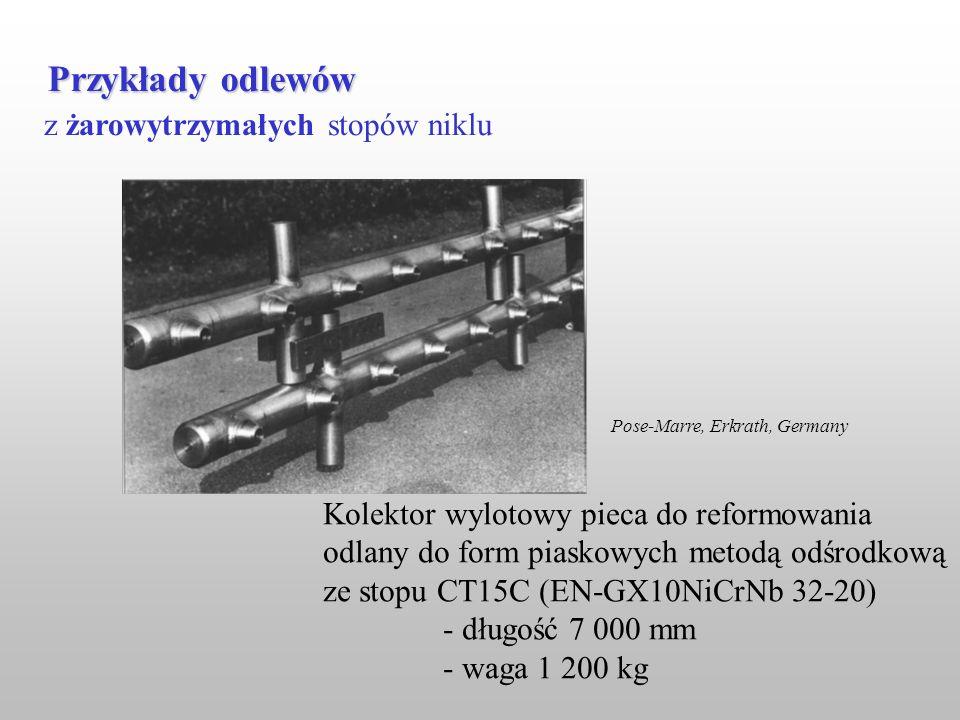 z żarowytrzymałych stopów niklu Przykłady odlewów Kolektor wylotowy pieca do reformowania odlany do form piaskowych metodą odśrodkową ze stopu CT15C (