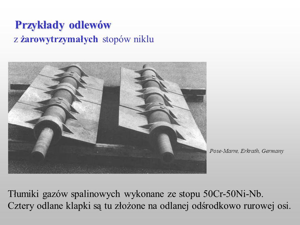 z żarowytrzymałych stopów niklu Przykłady odlewów Tłumiki gazów spalinowych wykonane ze stopu 50Cr-50Ni-Nb. Cztery odlane klapki są tu złożone na odla