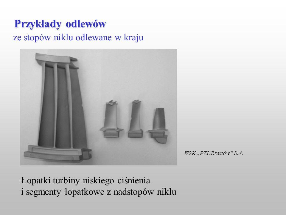 ze stopów niklu odlewane w kraju Przykłady odlewów WSK PZL Rzeszów S.A. Łopatki turbiny niskiego ciśnienia i segmenty łopatkowe z nadstopów niklu