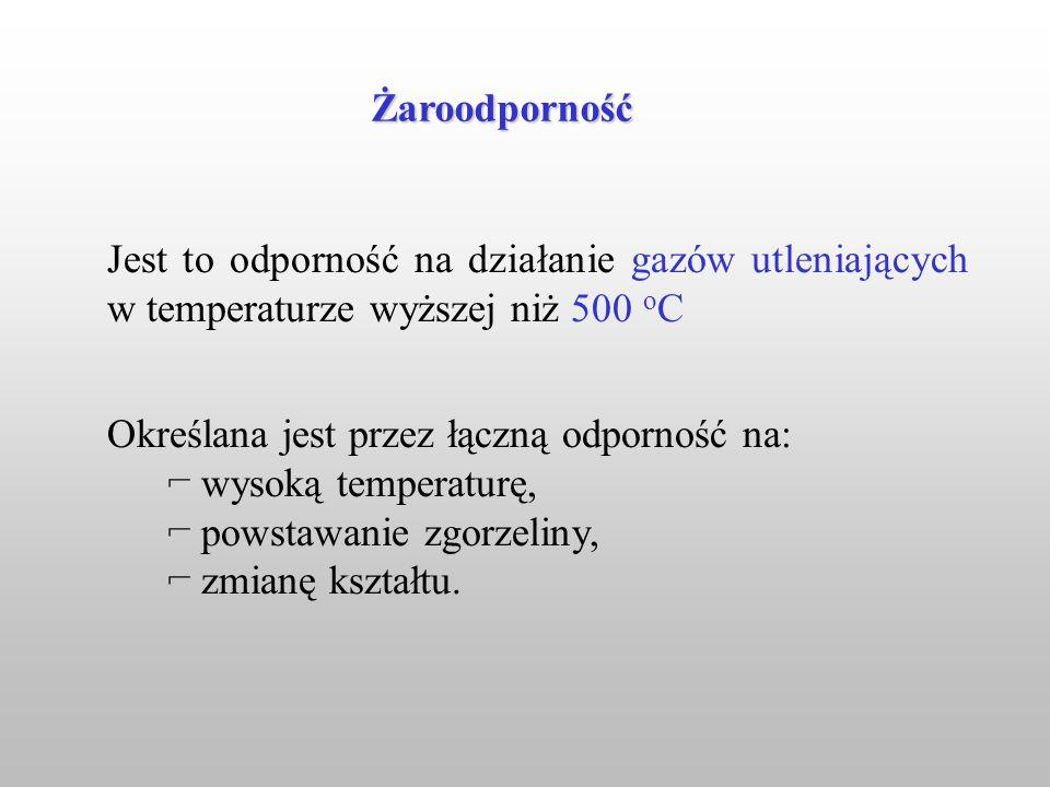 Jest to odporność na działanie gazów utleniających w temperaturze wyższej niż 500 o C Określana jest przez łączną odporność na: wysoką temperaturę, po