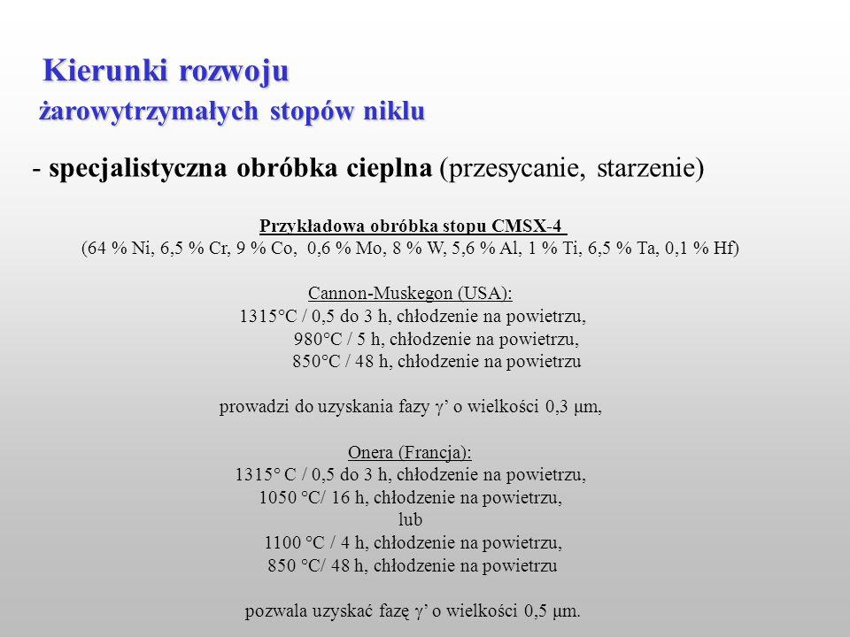 żarowytrzymałych stopów niklu Kierunki rozwoju - specjalistyczna obróbka cieplna (przesycanie, starzenie) Przykładowa obróbka stopu CMSX-4 (64 % Ni, 6