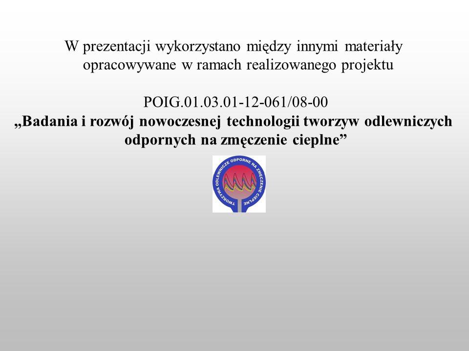 W prezentacji wykorzystano między innymi materiały opracowywane w ramach realizowanego projektu POIG.01.03.01-12-061/08-00 Badania i rozwój nowoczesne