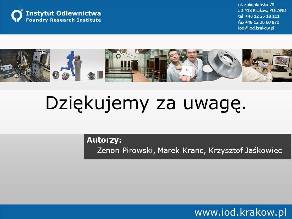 Dziękujemy za uwagę. ul. Zakopiańska 73 30-418 Kraków, POLAND tel. +48 12 26 18 111 fax +48 12 26 60 870 iod@iod.krakow.pl www.iod.krakow.pl Autorzy:
