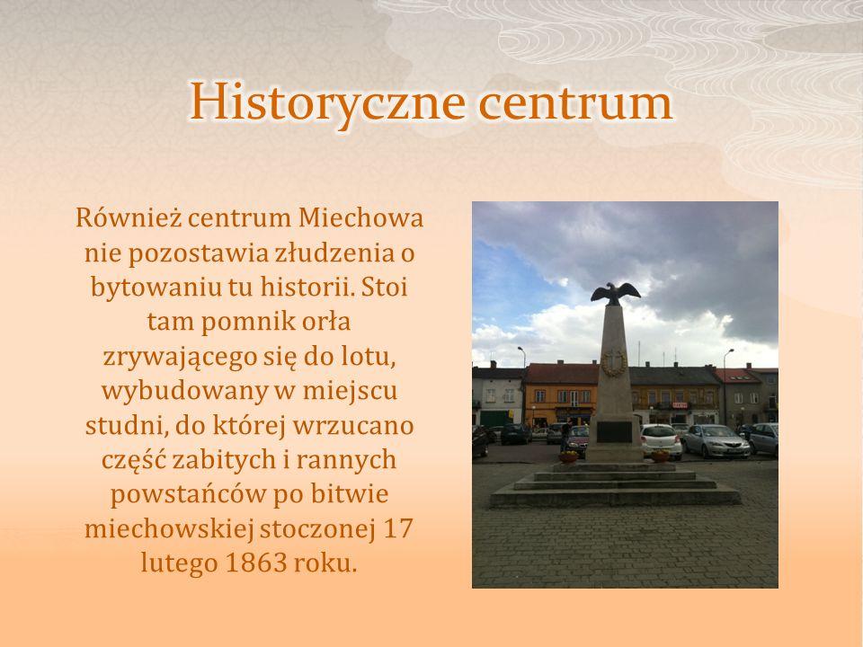 Również centrum Miechowa nie pozostawia złudzenia o bytowaniu tu historii. Stoi tam pomnik orła zrywającego się do lotu, wybudowany w miejscu studni,