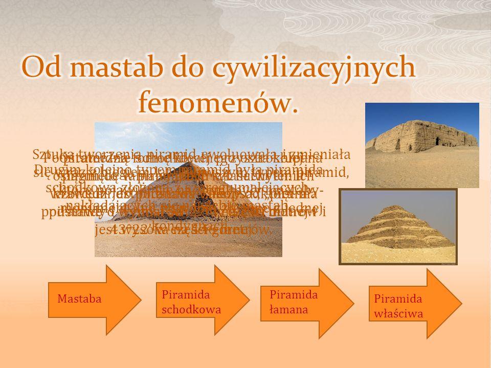 Po piramidzie schodkowej przyszła kolej na piramidę łamaną gdzie kąt nachylenia krawędzi do podstawy zależy od piętra piramidy i wynosi 54°27 w części