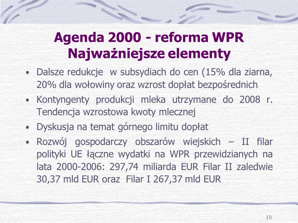 10 Agenda 2000 - reforma WPR Najważniejsze elementy Dalsze redukcje w subsydiach do cen (15% dla ziarna, 20% dla wołowiny oraz wzrost dopłat bezpośrednich Kontyngenty produkcji mleka utrzymane do 2008 r.