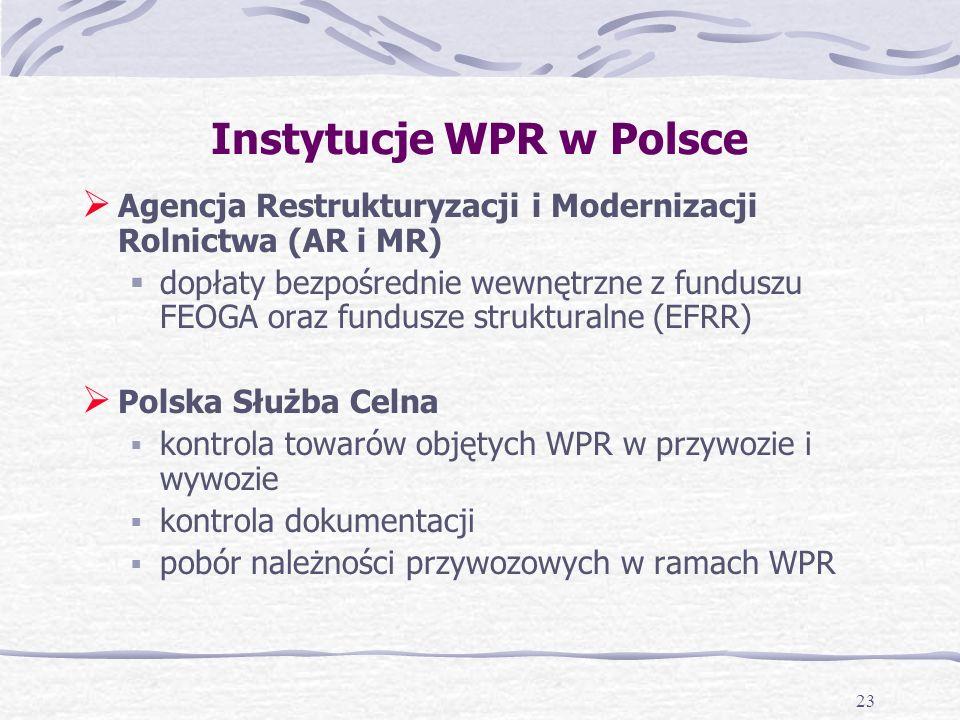 23 Instytucje WPR w Polsce Agencja Restrukturyzacji i Modernizacji Rolnictwa (AR i MR) dopłaty bezpośrednie wewnętrzne z funduszu FEOGA oraz fundusze strukturalne (EFRR) Polska Służba Celna kontrola towarów objętych WPR w przywozie i wywozie kontrola dokumentacji pobór należności przywozowych w ramach WPR