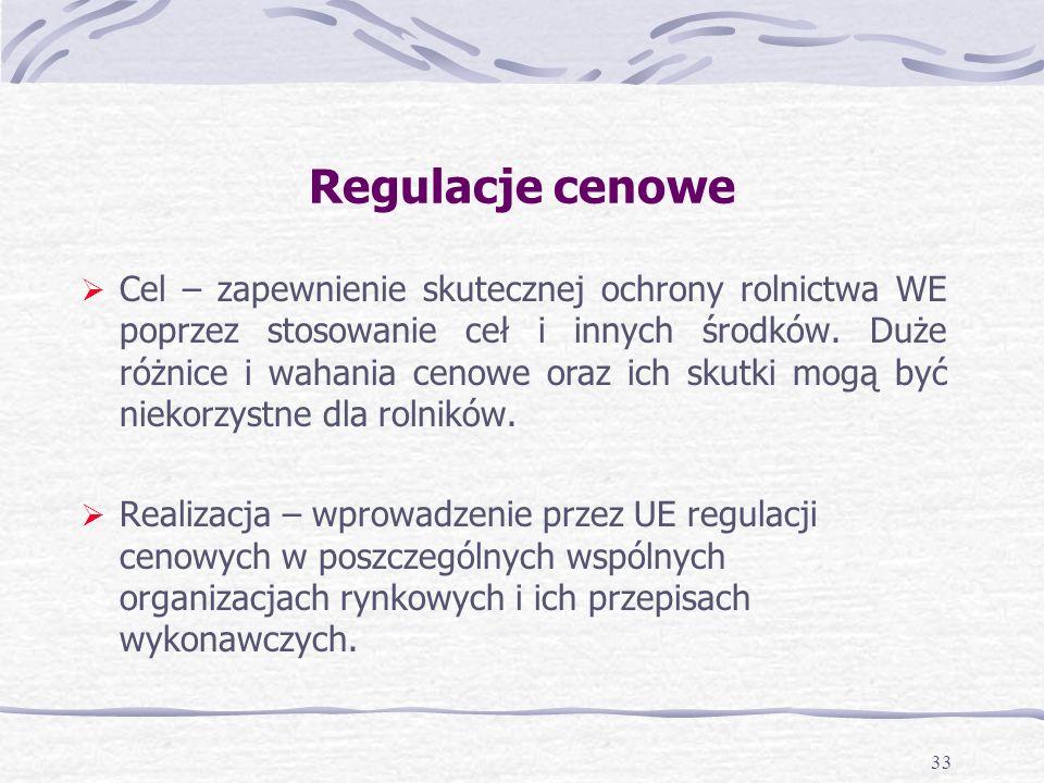 33 Regulacje cenowe Cel – zapewnienie skutecznej ochrony rolnictwa WE poprzez stosowanie ceł i innych środków.