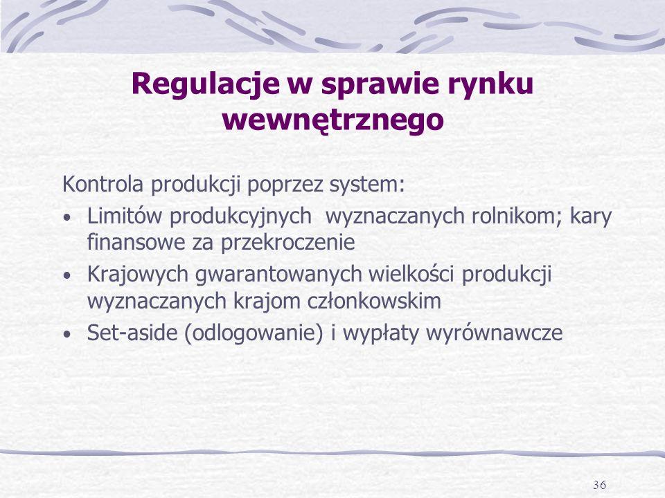 36 Regulacje w sprawie rynku wewnętrznego Kontrola produkcji poprzez system: Limitów produkcyjnych wyznaczanych rolnikom; kary finansowe za przekroczenie Krajowych gwarantowanych wielkości produkcji wyznaczanych krajom członkowskim Set-aside (odlogowanie) i wypłaty wyrównawcze