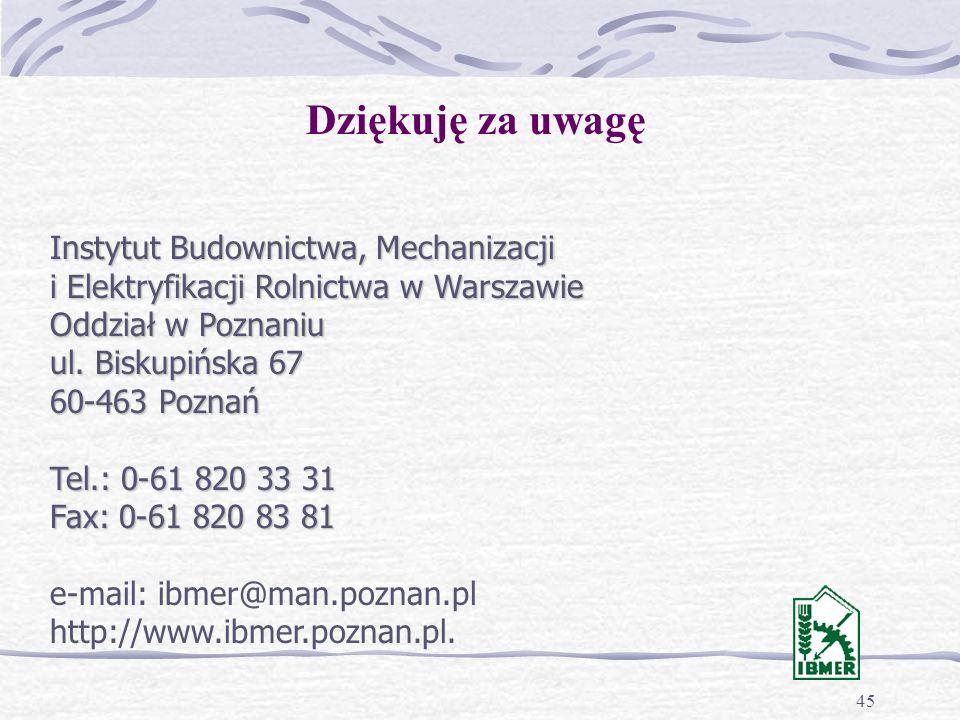 45 Dziękuję za uwagę Instytut Budownictwa, Mechanizacji i Elektryfikacji Rolnictwa w Warszawie Oddział w Poznaniu ul.