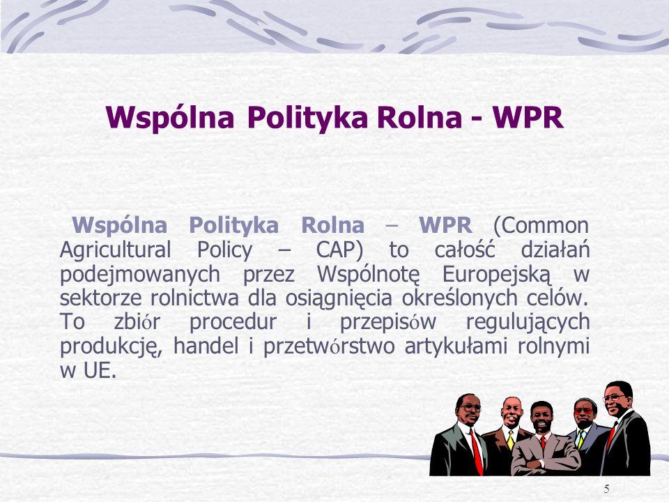 5 Wspólna Polityka Rolna - WPR Wspólna Polityka Rolna – WPR (Common Agricultural Policy – CAP) to całość działań podejmowanych przez Wspólnotę Europejską w sektorze rolnictwa dla osiągnięcia określonych celów.
