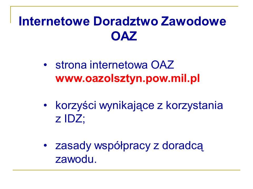 strona internetowa OAZ www.oazolsztyn.pow.mil.pl korzyści wynikające z korzystania z IDZ; zasady współpracy z doradcą zawodu. Internetowe Doradztwo Za