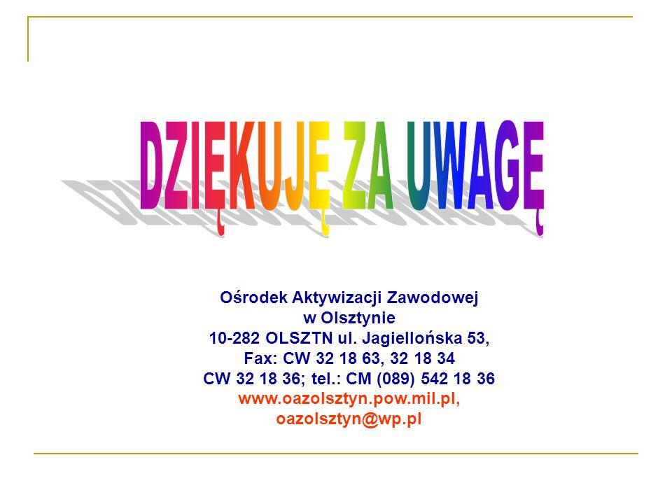 Ośrodek Aktywizacji Zawodowej w Olsztynie 10-282 OLSZTN ul. Jagiellońska 53, Fax: CW 32 18 63, 32 18 34 CW 32 18 36; tel.: CM (089) 542 18 36 www.oazo