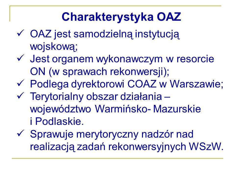 Charakterystyka OAZ OAZ jest samodzielną instytucją wojskową; Jest organem wykonawczym w resorcie ON (w sprawach rekonwersji); Podlega dyrektorowi COA