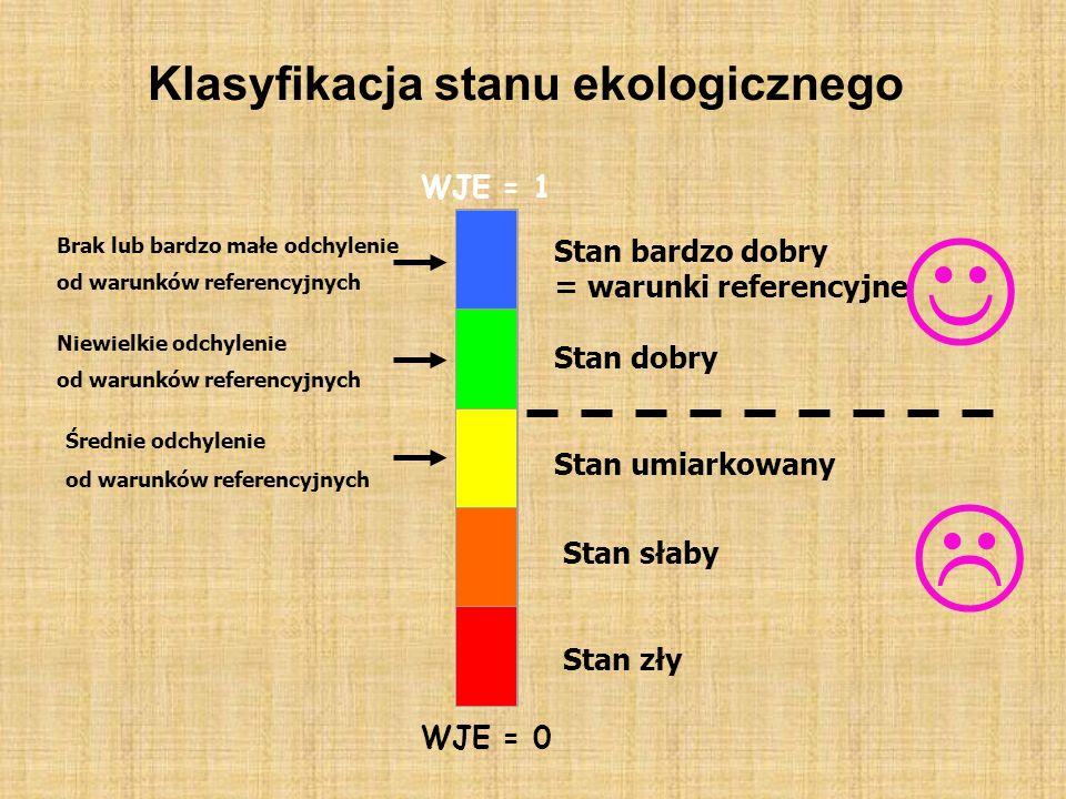 Klasyfikacja stanu ekologicznego WJE = 0 WJE = 1 Brak lub bardzo małe odchylenie od warunków referencyjnych Niewielkie odchylenie od warunków referenc