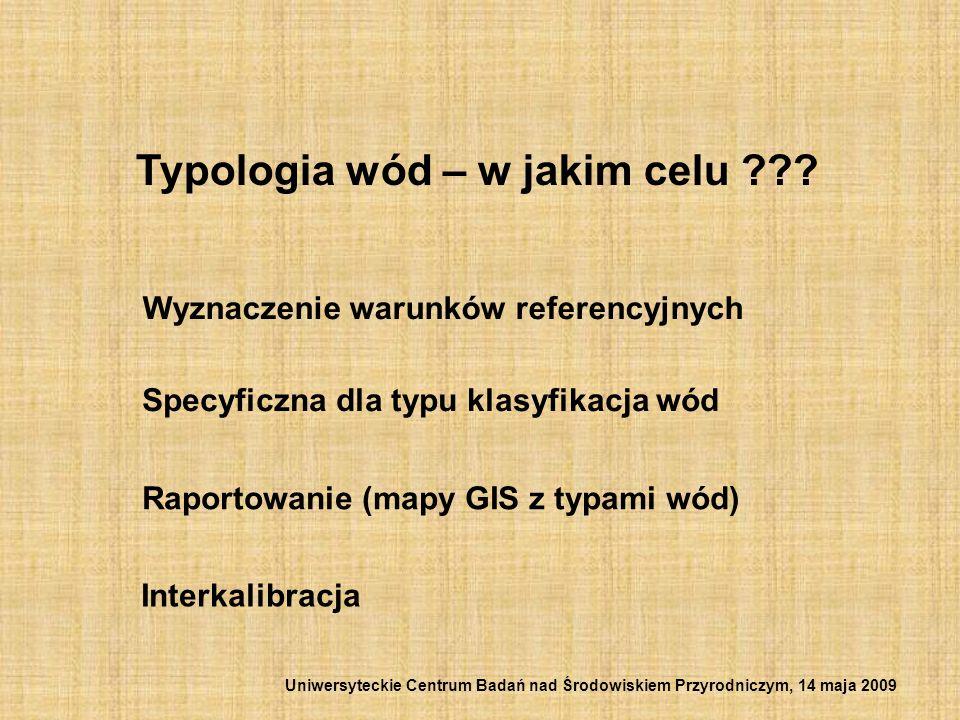 Typologia wód – w jakim celu ??? Wyznaczenie warunków referencyjnych Specyficzna dla typu klasyfikacja wód Raportowanie (mapy GIS z typami wód) Interk