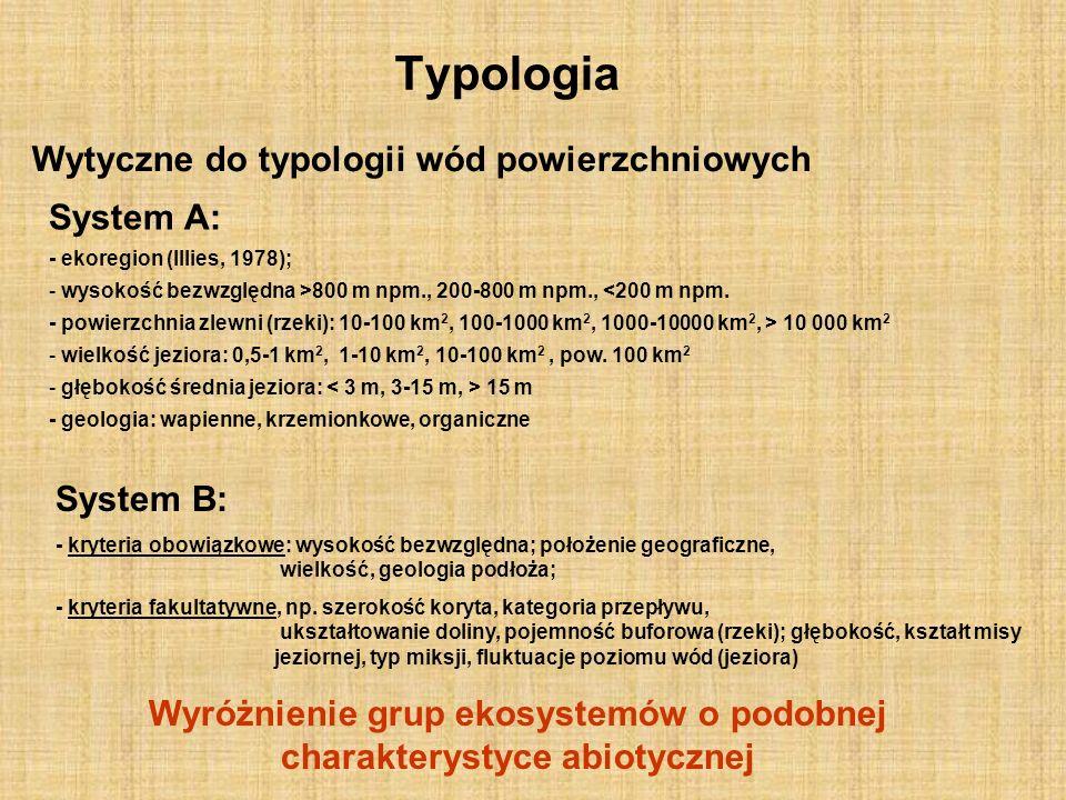 Typologia Wytyczne do typologii wód powierzchniowych System A: - ekoregion (Illies, 1978); - wysokość bezwzględna >800 m npm., 200-800 m npm., <200 m