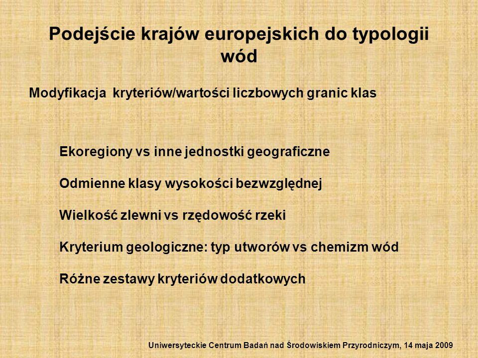 Podejście krajów europejskich do typologii wód Modyfikacja kryteriów/wartości liczbowych granic klas Ekoregiony vs inne jednostki geograficzne Odmienn