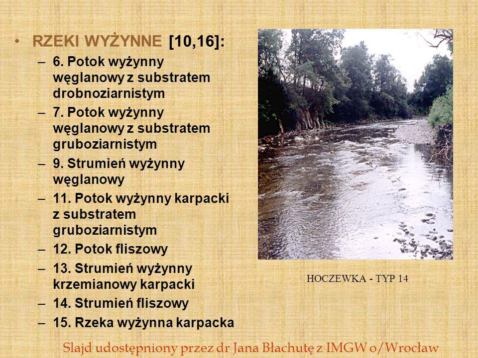 RZEKI WYŻYNNE [10,16]: –6. Potok wyżynny węglanowy z substratem drobnoziarnistym –7. Potok wyżynny węglanowy z substratem gruboziarnistym –9. Strumień