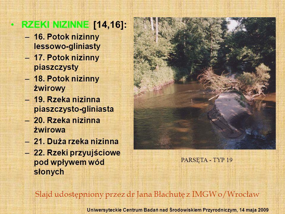 RZEKI NIZINNE [14,16]: –16. Potok nizinny lessowo-gliniasty –17. Potok nizinny piaszczysty –18. Potok nizinny żwirowy –19. Rzeka nizinna piaszczysto-g