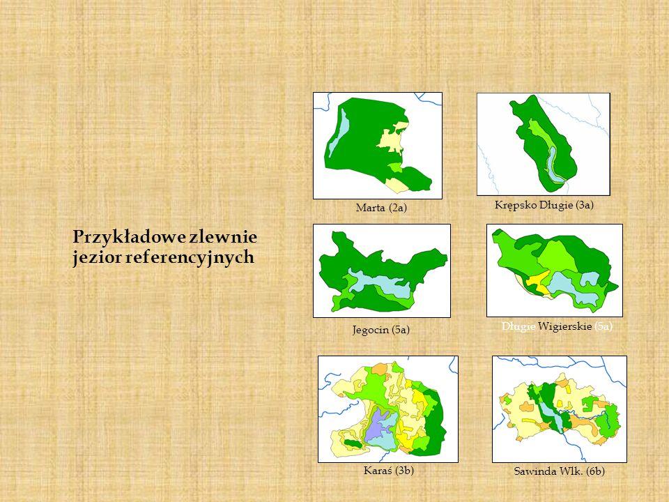 Przykładowe zlewnie jezior referencyjnych Krępsko Długie (3a) Jegocin (5a) Długie Wigierskie (5a) Marta (2a) Karaś (3b) Sawinda Wlk. (6b)