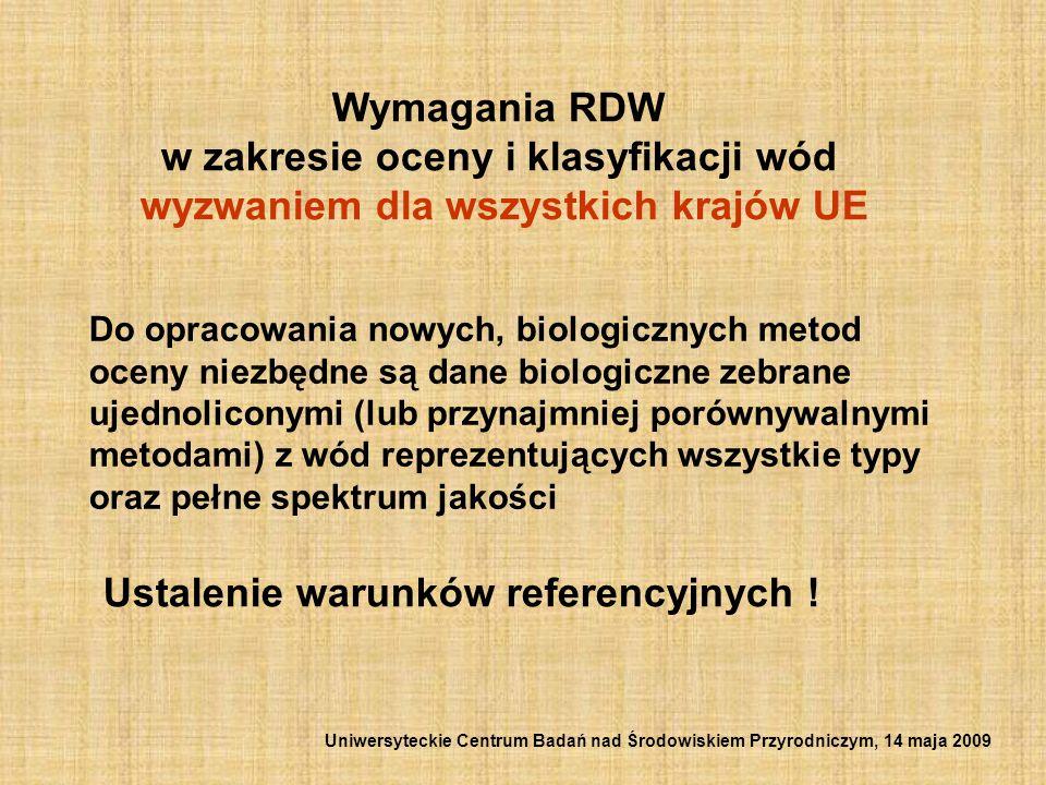 Wymagania RDW w zakresie oceny i klasyfikacji wód wyzwaniem dla wszystkich krajów UE Do opracowania nowych, biologicznych metod oceny niezbędne są dan