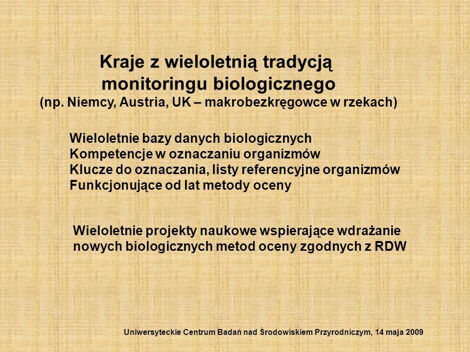 Kraje z wieloletnią tradycją monitoringu biologicznego (np. Niemcy, Austria, UK – makrobezkręgowce w rzekach) Wieloletnie bazy danych biologicznych Ko