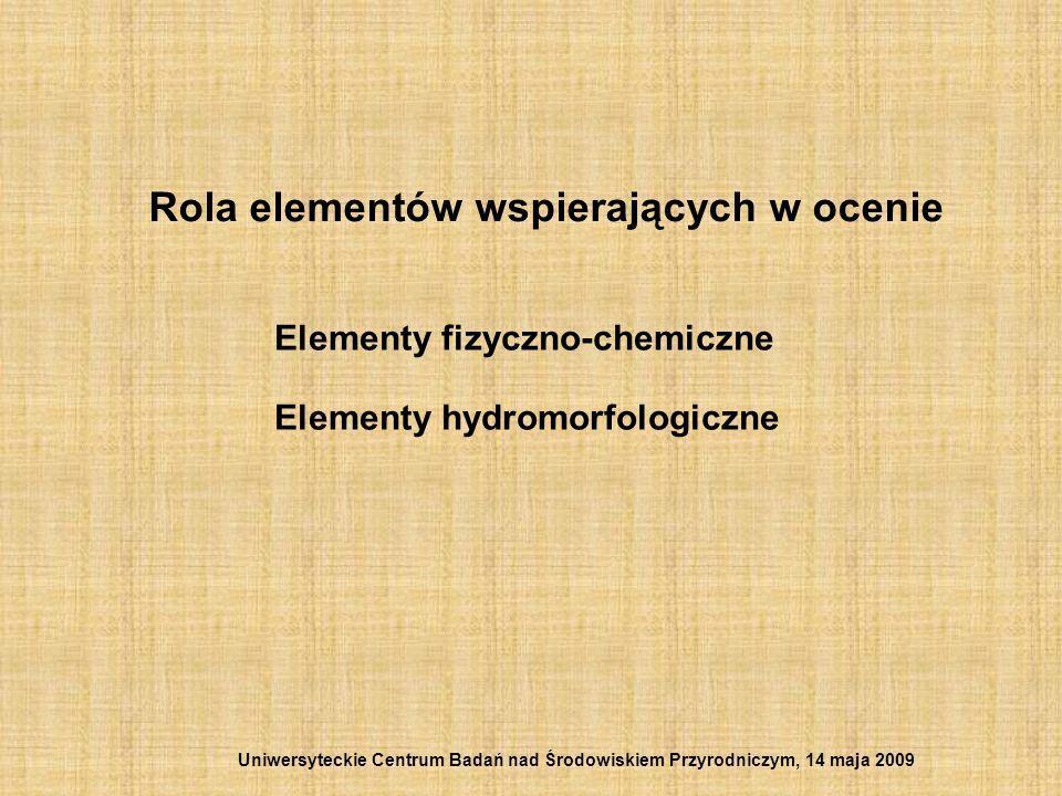 Rola elementów wspierających w ocenie Elementy fizyczno-chemiczne Elementy hydromorfologiczne Uniwersyteckie Centrum Badań nad Środowiskiem Przyrodnic