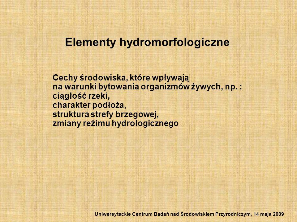 Elementy hydromorfologiczne Cechy środowiska, które wpływają na warunki bytowania organizmów żywych, np. : ciągłość rzeki, charakter podłoża, struktur