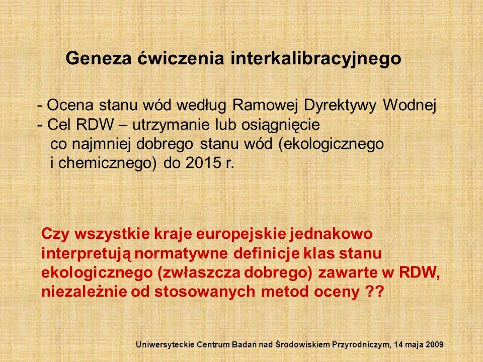 Geneza ćwiczenia interkalibracyjnego - Ocena stanu wód według Ramowej Dyrektywy Wodnej - Cel RDW – utrzymanie lub osiągnięcie co najmniej dobrego stan