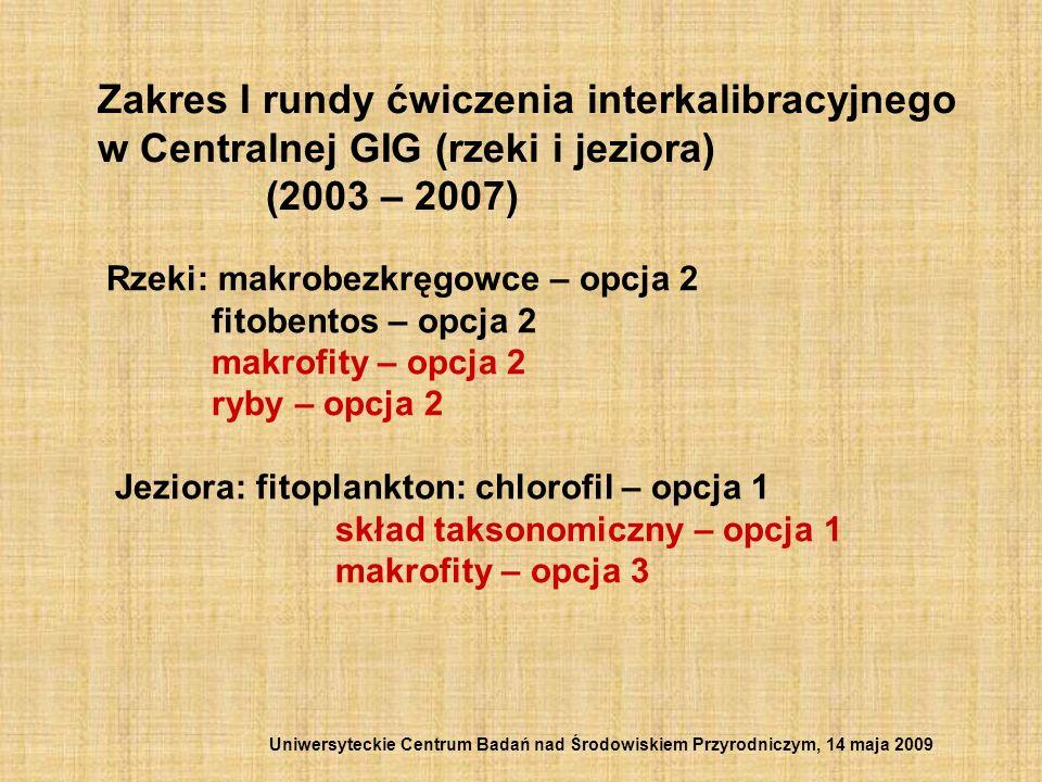 Zakres I rundy ćwiczenia interkalibracyjnego w Centralnej GIG (rzeki i jeziora) (2003 – 2007) Rzeki: makrobezkręgowce – opcja 2 fitobentos – opcja 2 m