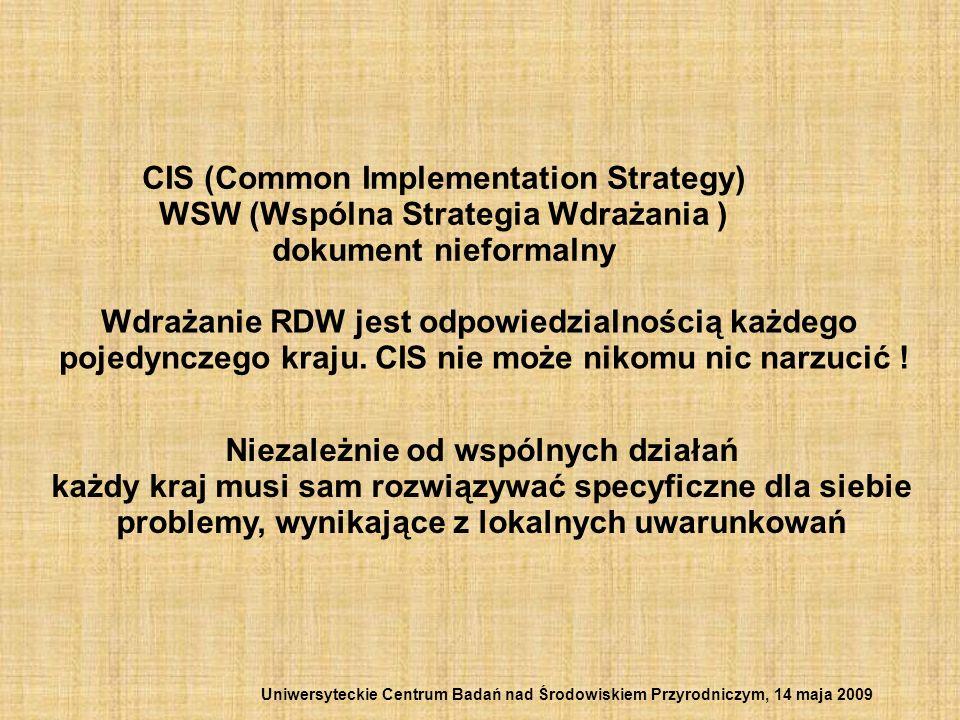 CIS (Common Implementation Strategy) WSW (Wspólna Strategia Wdrażania ) dokument nieformalny Wdrażanie RDW jest odpowiedzialnością każdego pojedynczeg