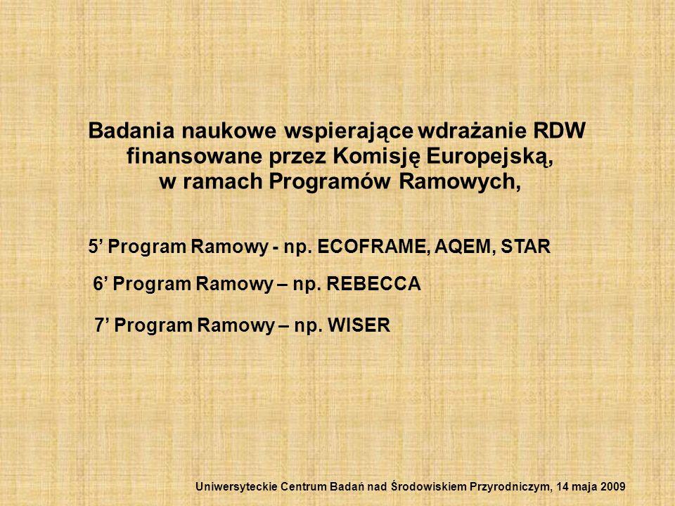 Badania naukowe wspierające wdrażanie RDW finansowane przez Komisję Europejską, w ramach Programów Ramowych, 5 Program Ramowy - np. ECOFRAME, AQEM, ST