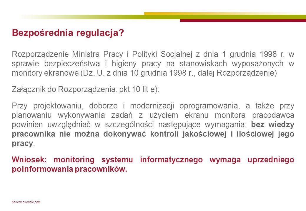 bakermckenzie.com Bezpośrednia regulacja? Rozporządzenie Ministra Pracy i Polityki Socjalnej z dnia 1 grudnia 1998 r. w sprawie bezpieczeństwa i higie