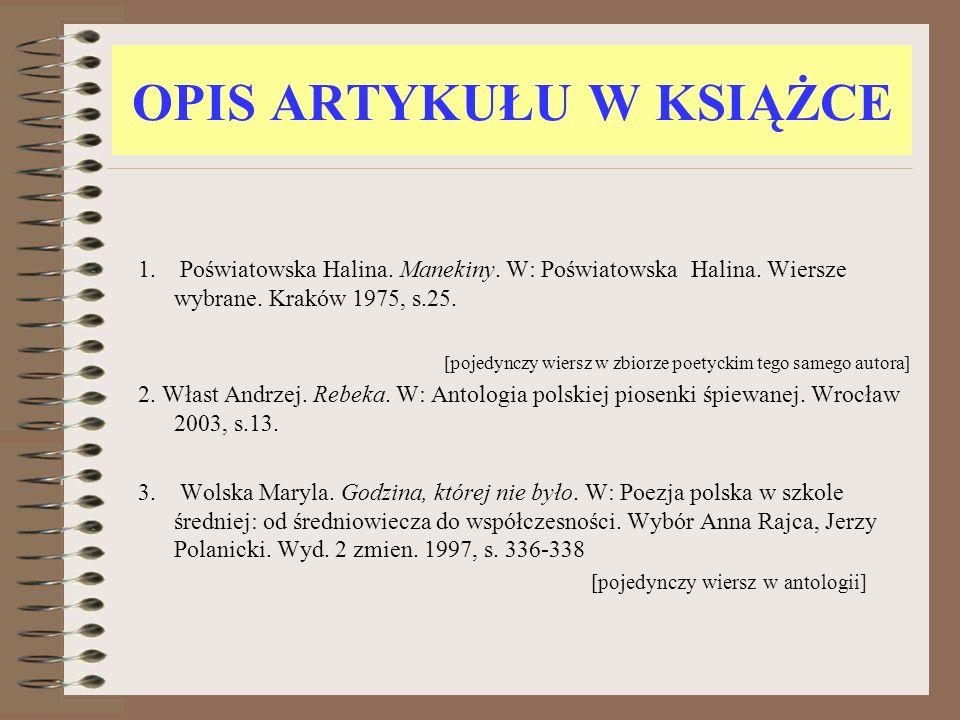 OPIS ARTYKUŁU W KSIĄŻCE 4.Woźnowski Wacław. Oświecenie.