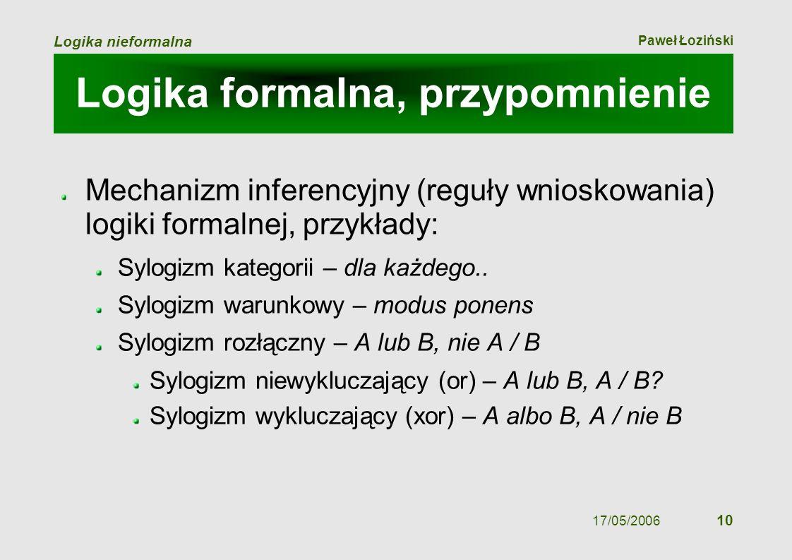 Paweł Łoziński Logika nieformalna 17/05/2006 10 Logika formalna, przypomnienie Mechanizm inferencyjny (reguły wnioskowania) logiki formalnej, przykład