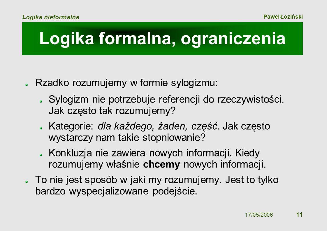 Paweł Łoziński Logika nieformalna 17/05/2006 11 Logika formalna, ograniczenia Rzadko rozumujemy w formie sylogizmu: Sylogizm nie potrzebuje referencji