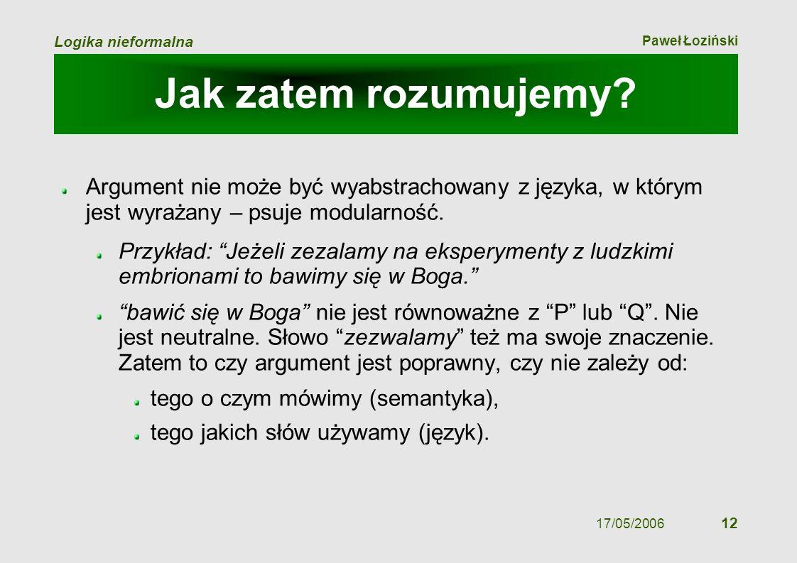 Paweł Łoziński Logika nieformalna 17/05/2006 12 Jak zatem rozumujemy? Argument nie może być wyabstrachowany z języka, w którym jest wyrażany – psuje m