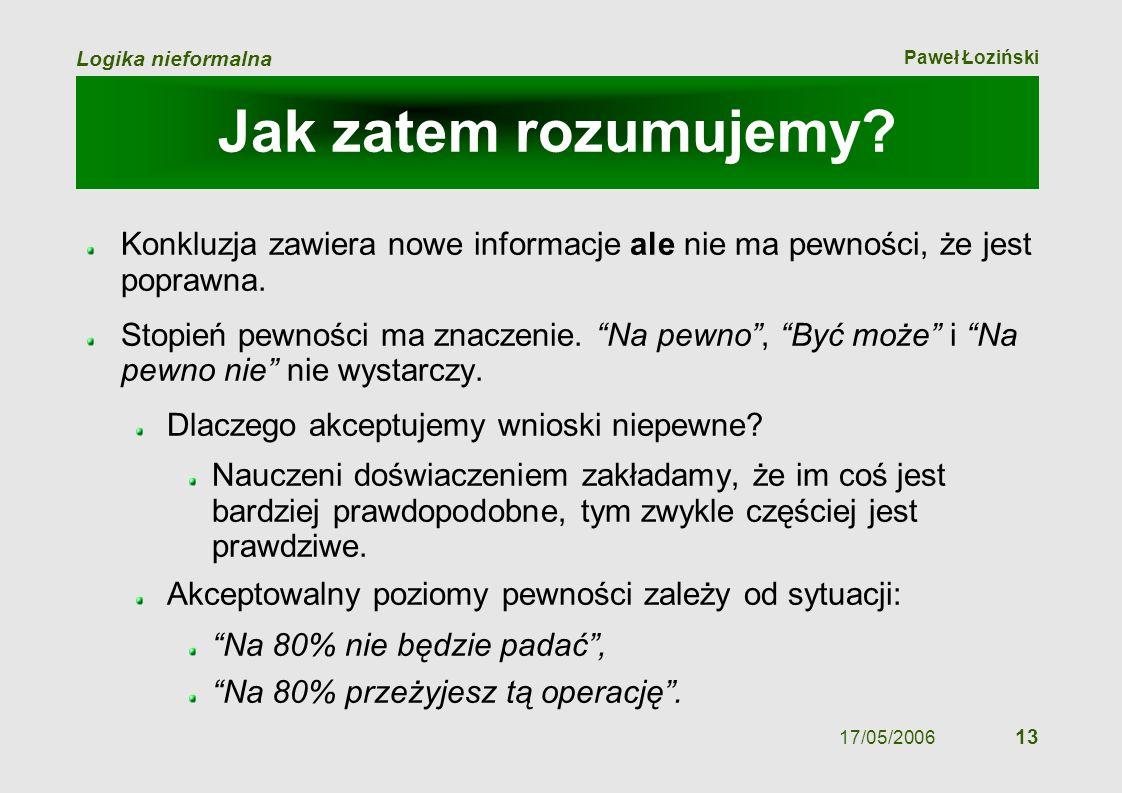 Paweł Łoziński Logika nieformalna 17/05/2006 13 Jak zatem rozumujemy? Konkluzja zawiera nowe informacje ale nie ma pewności, że jest poprawna. Stopień