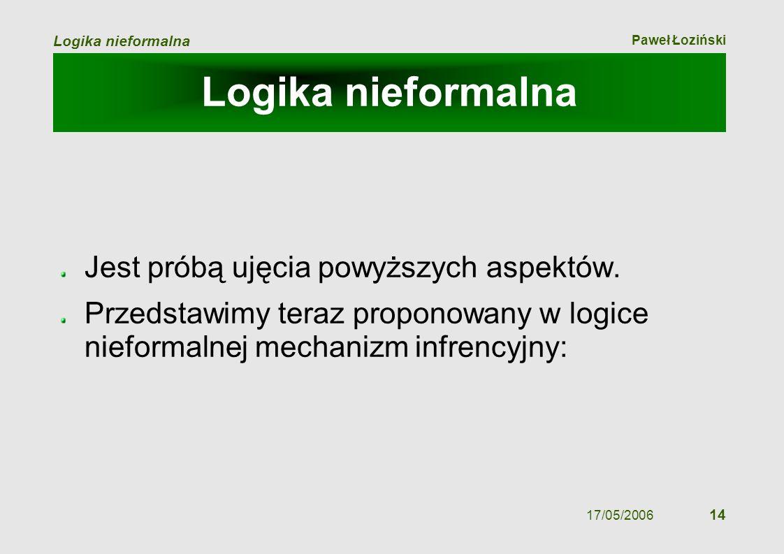 Paweł Łoziński Logika nieformalna 17/05/2006 14 Logika nieformalna Jest próbą ujęcia powyższych aspektów. Przedstawimy teraz proponowany w logice nief