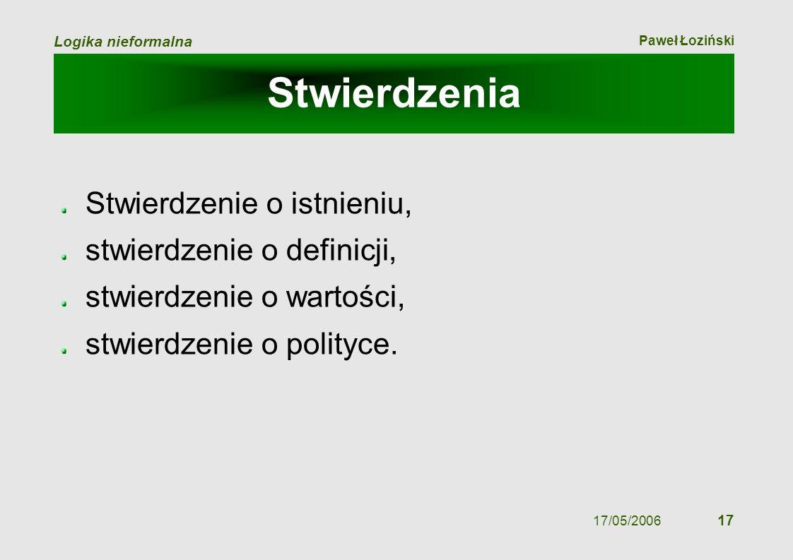 Paweł Łoziński Logika nieformalna 17/05/2006 17 Stwierdzenia Stwierdzenie o istnieniu, stwierdzenie o definicji, stwierdzenie o wartości, stwierdzenie