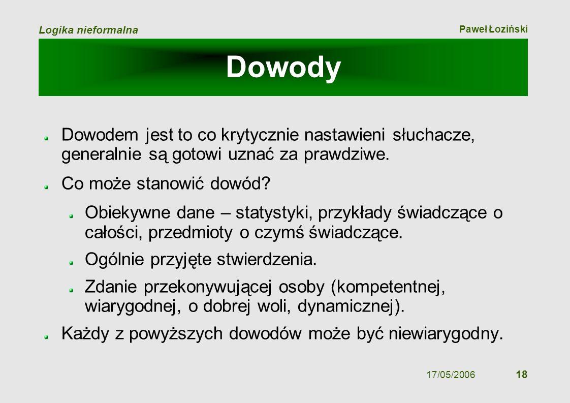 Paweł Łoziński Logika nieformalna 17/05/2006 18 Dowody Dowodem jest to co krytycznie nastawieni słuchacze, generalnie są gotowi uznać za prawdziwe. Co