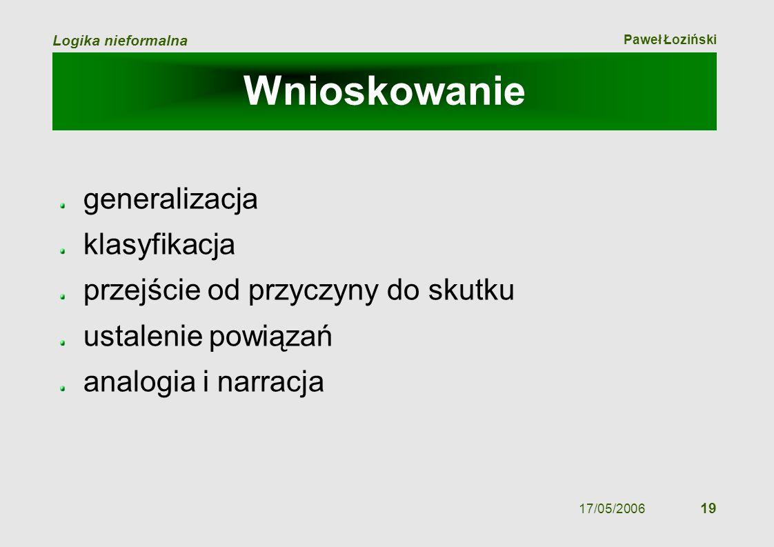 Paweł Łoziński Logika nieformalna 17/05/2006 19 Wnioskowanie generalizacja klasyfikacja przejście od przyczyny do skutku ustalenie powiązań analogia i