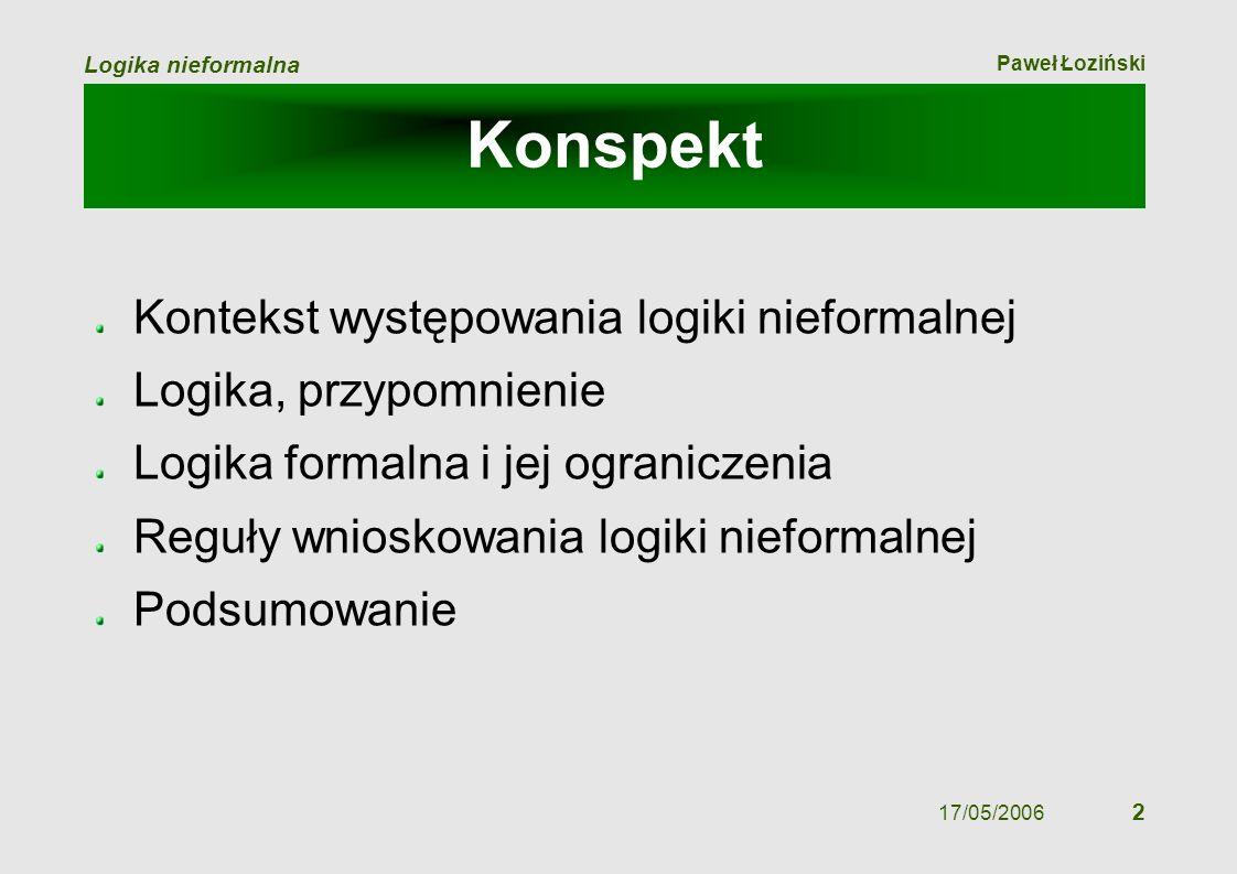 Paweł Łoziński Logika nieformalna 17/05/2006 2 Konspekt Kontekst występowania logiki nieformalnej Logika, przypomnienie Logika formalna i jej ogranicz